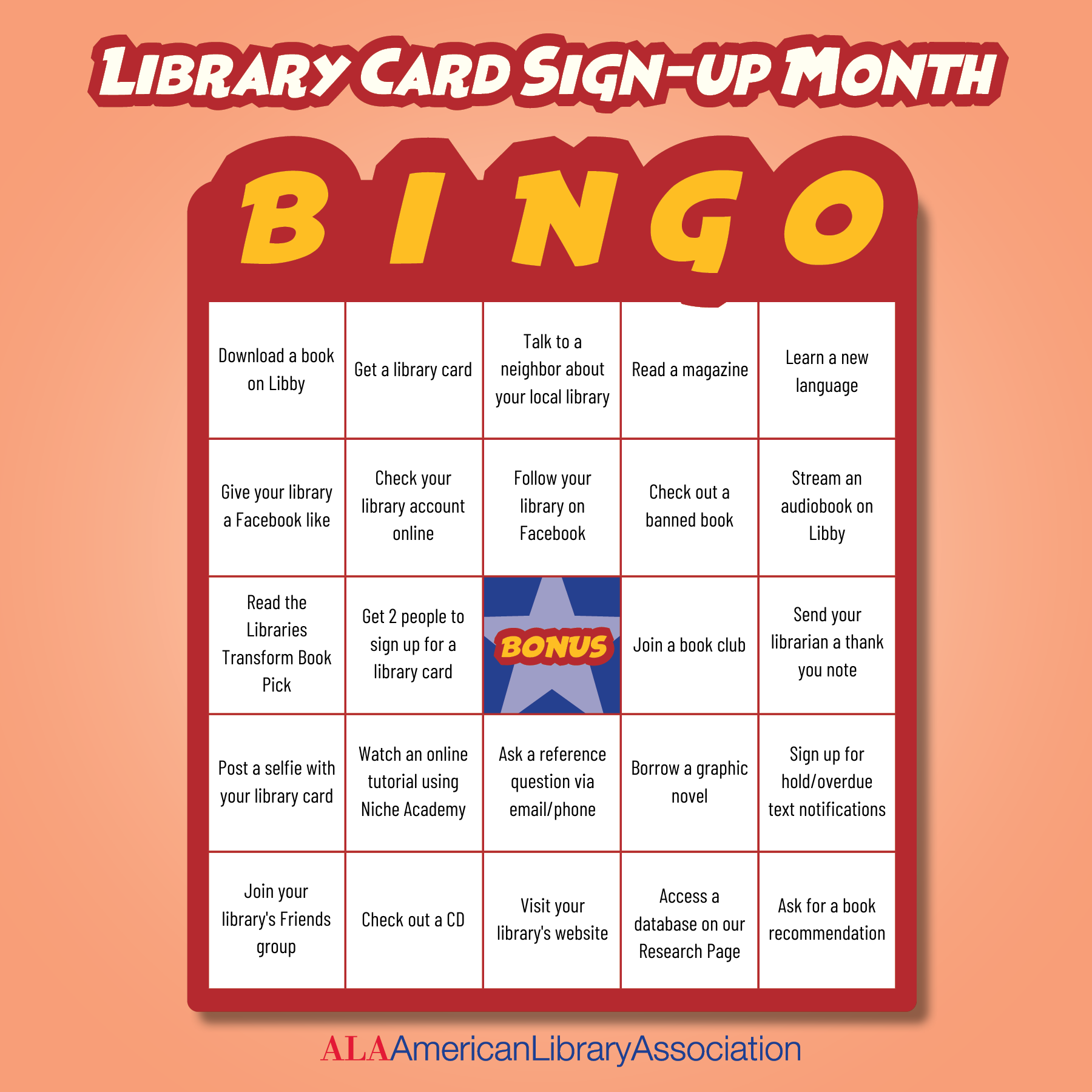 BINGO Board for National Library Sign-Up Month