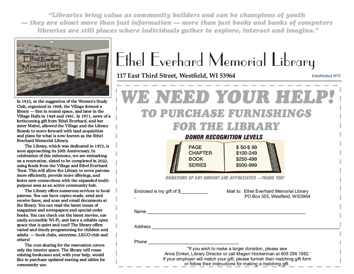 Donation form for library renovation